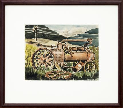 """Kathleen Vavra, Colorado mountain landscape painting, for sale, antique Tractor, field, power line, grass, watercolor, circa 1930-1950, denver artists guild, """"kathleen huffman"""""""