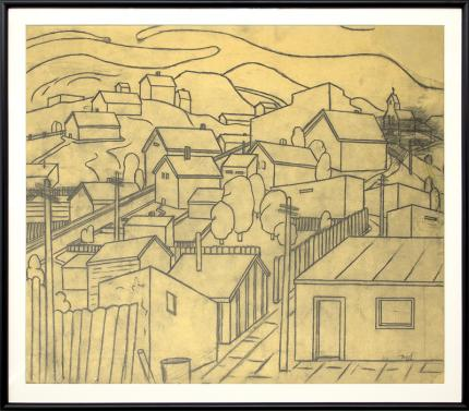 Charles Bunnell, Untitled, Houses and Hills, vintage colorado art for sale, graphite, circa 1935, wpa era, modernist, modernism, regional painting, broadmoor academy
