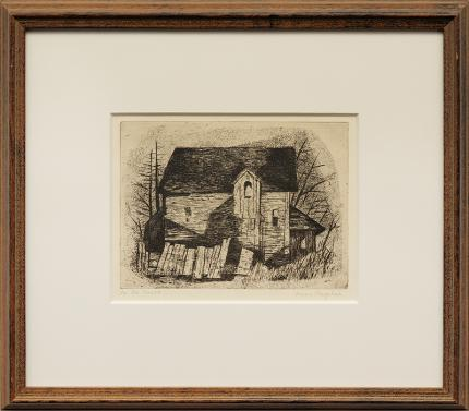 """Jenne Magafan, """"An Old House"""", etching, 1938 for sale purchase consign auction denver Colorado art gallery museum"""