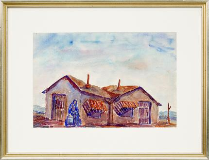 """Frank """"Pancho"""" Gates, original vintage painting, Woman Carrying Water with Adobe House, watercolor, circa 1945, for sale"""
