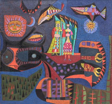 "Edward Marecak, ""Athena and Diana"", oil, painting, 1950's, midcentury, mid-century, modern, abstract, greek mythology, blue, orange, green, yellow, black"