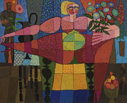 Edward Marecak, Goddess of Fertility, oil, 1966, painting, art for sale, mid-century, midcentury modern, vintage, cubist, modernist, abstract, female, male, flowers, nude, fruit, red, blue, yellow, gold, green, black, brown, pink