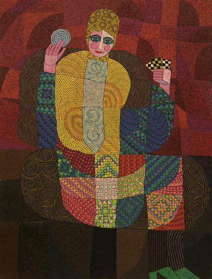 Edward Marecak, The Fortune Teller, oil painting, art for sale, 1991, vintage, abstract, cubist, modern, female figure, gypsy, tarot, turbin, red, yellow, gold, green, blue, brown, pink, purple