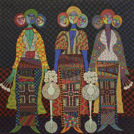 Edward Marecak, Three Fates with Three Faces, oil painting, for sale, vintage, 1990, cubist, modernist, geometric, abstract, female figure, black, blue, yellow, orange, red, green, white, pink, purple