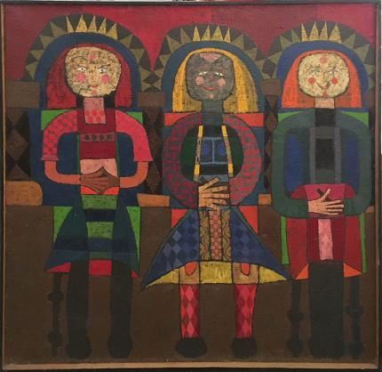 """Edward Marecak, The Three Fates Sit #1"""", oil painting, for sale, 1962, mid-century modern, midcentury modern, abstract, mythology, figurative, blue, green, red, yellow, gold, orange, brown"""