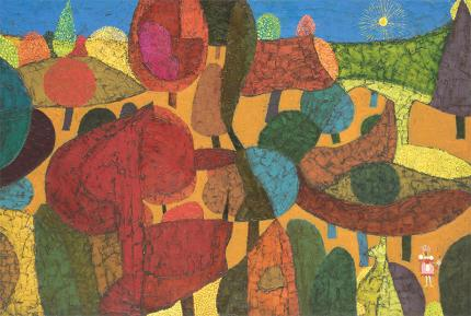 Edward Marecak, Persephone, oil painting, vintage, 1980's, art for sale, denver, modernist, red, gold, orange, blue, yellow, purple, pink, fuchsia, sun, houses, trees, girl