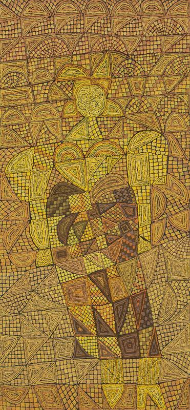 Edward Marecak, The Gold Witch, oil painting, for sale, 1980s, vintage art, denver, colorado, modernist, abstract, cubist, yellow, gold, brown, green, orange