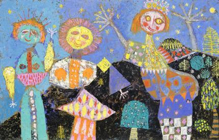 Edward Marecak, Oberek #1, mixed media, 1950's, painting, art for sale, vintage, mid-century modern, midcentury modern, blue, black, yellow, orange, pink