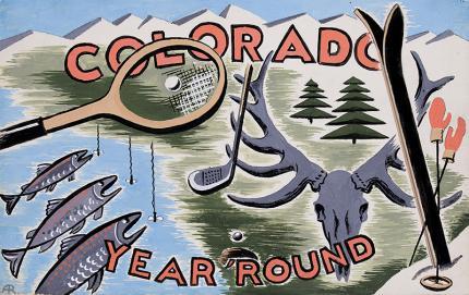 "Arnold Ronnebeck, ""Colorado Year Round"", gouache, circa 1933, Vintage illustration art for sale, Colorado tourism, Skiing, Fishing, Tennis, Golf, Hunting."