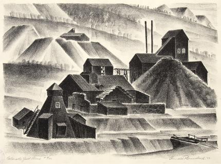 Arnold Ronnebeck, Colorado Gold Mine, lithograph, 1933, vintage, wpa era, art for sale, modernist, black, white, mountain, landscape