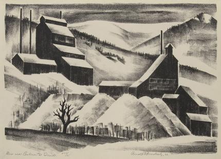 Arnold Ronnebeck, Mine Near Contintental Divide, Colorado, vintage, art for sale, lithograph, 1933, modernist, wpa era, black and white, landscape, snow, winter, mining, ghost town, denver artists guild