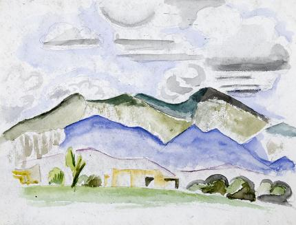 """Arnold Ronnebeck, art for sale, """"Summer Afternoon, Taos, New Mexico"""", watercolor, painting, 1925, vintage, original, landscape, mountains, adobe"""