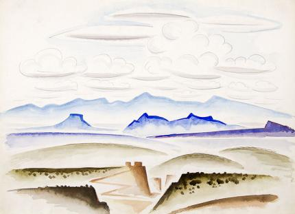 "Arnold Ronnebeck original vintage watercolor painting ""Northern New Mexico Landscape"", watercolor, circa 1927"