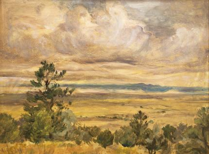 """Verna Jean Versa, """"East From Baca Grande (Colorado)"""", oil, 1996 painting fine art for sale purchase buy sell auction consign denver colorado art gallery museum"""
