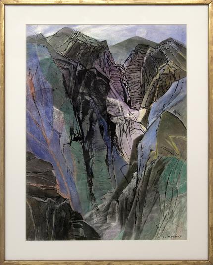 "Ethel Magafan, ""Rising Moon"" vintage painting for sale, Colorado Mountain Landscape, watercolor, 1975, buy regional art, broadmoor academy"