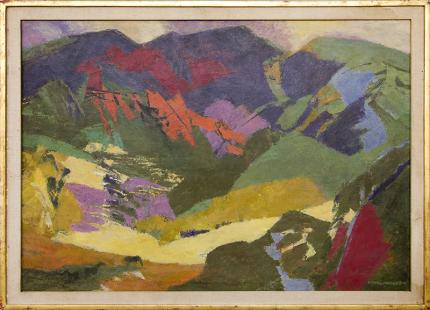 """Ethel Magafan, """"End of the Meadow, Semi Abstract Colorado Mountain Landscape, vintage painting for sale, tempera, 1971, broadmoor art academy, woman artist, female"""