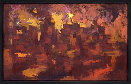 Howard Cook, vintage painting for sale, abstract, Taos Pueblo, Firelight, New Mexico, oil, circa 1950-1970, mid-century modern, art, red, orange, yellow, mustard, black