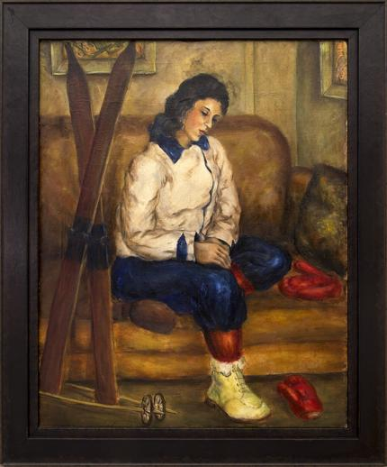 """vintage painting, for sale, """"Adylin with Skis, Sitting Pose"""", oil, 1939. wpa era, regionalist, woman, female, ski, skiing, sports, winter, sofa, fire, interior, brown, blue, white, yellow, red"""