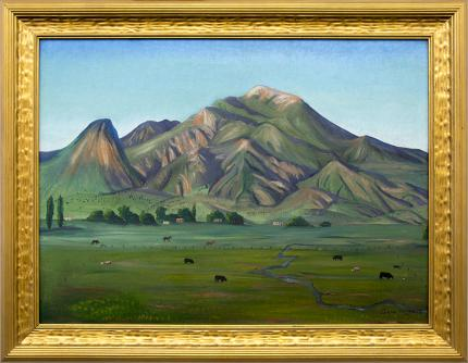 Gene Kloss, vintage oil painting for sale, woman artist, 20th century, Adobes and Horses and Cattle, Mountain Landscape, Springtime, New Mexico, Alice Geneva Glasier