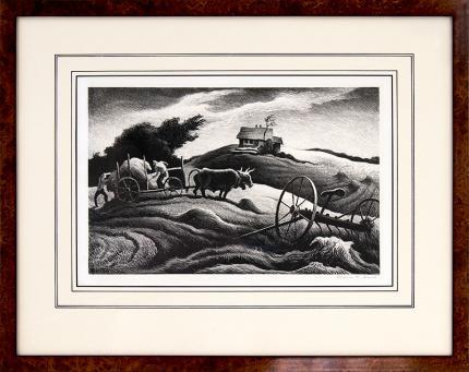 Thomas Hart Benton, New England Farm, lithograph for sale, 1951, original, signed, vintage, black & white, american scene, full margins, martha's vineyard, art for sale