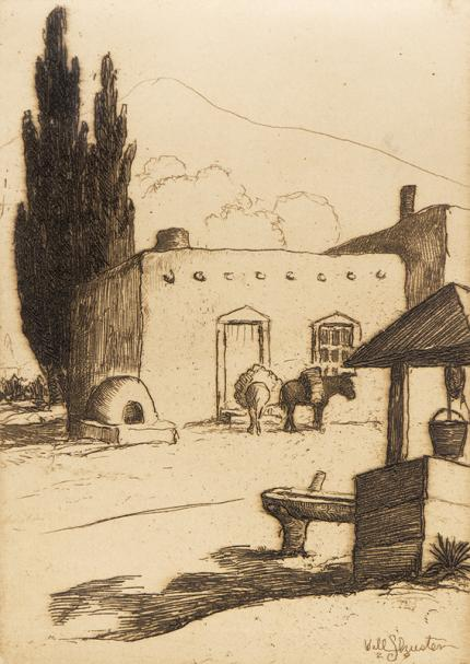 Will Shuster, La Noria, Well, Adobe House, Trees and Sky, New Mexico, etching, 1929, vintage, art for sale, print, black and white, los cinco pintores, santa fe, taos