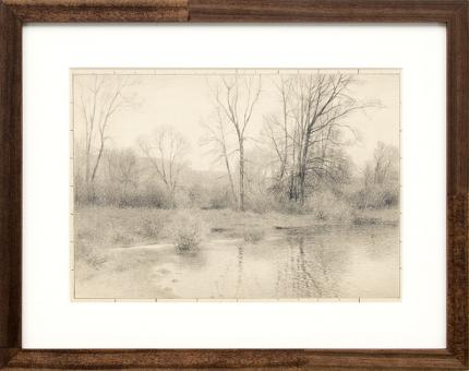 Charles Partridge Adams, art for sale, Creek in Winter, Colorado, landscape, drawing, graphite, early 20th century, vintage, antique, front range, gray, black, white, brown, frame