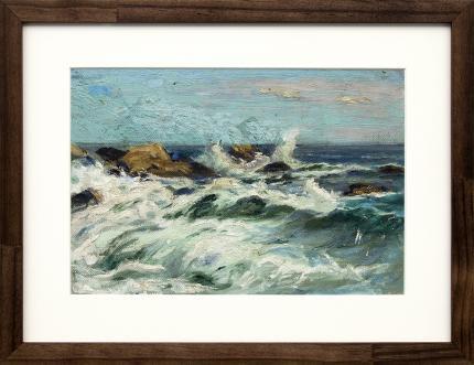 Charles Partridge Adams, marine, coastal painting for sale, Crashing Waves and Rocks, California Coast, oil, circa 1920