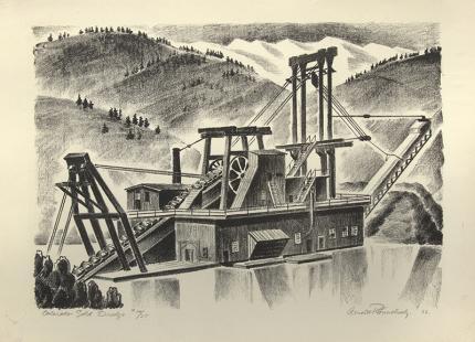 Arnold Ronnebeck, Colorado Gold Dredge, Mountain Landscape, lithograph, 1932, vintage, art for sale, wpa era, black, white
