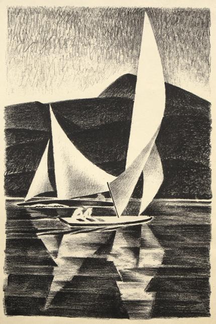 Arnold Ronnebeck, Grand Lake, Sailboats, Colorado, lithograph, circa 1932, vintage, art for sale, marine, mountain landscape, yacht, black, white, wpa era, modernist