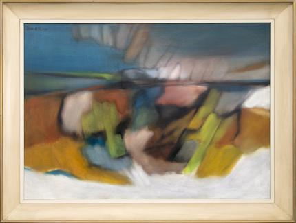 Watson Bidwell, art for sale, Hilltop Fugue, Abstract Painting, acrylic, 1961, blue, gold, yellow, green, white, pink, orange